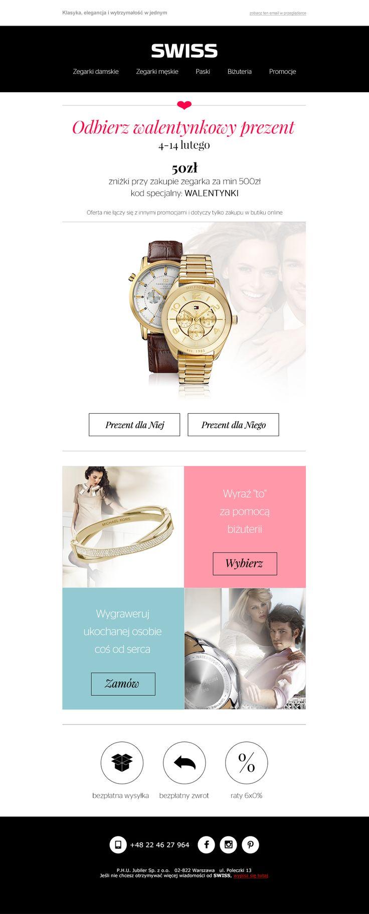 Walentynkowy newsletter z walentynkowym prezentem cenowym - przygotowany dla marki Swiss. #newsletter #email #template #design