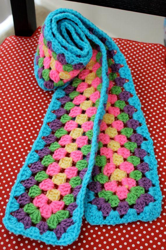 Granny Square Crochet Scarf