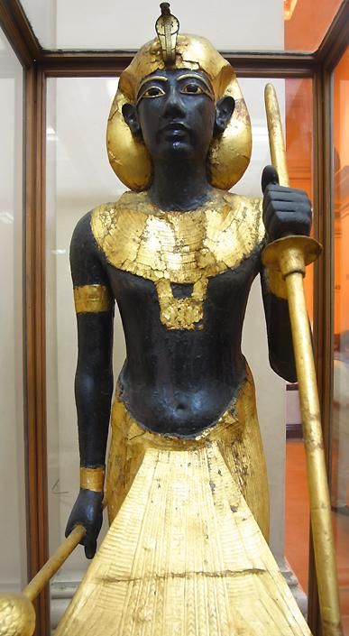 """Ka statue of Pharaoh Tutankhamun; 18th dynasty. The statue provided a resting place for the ka. The ka was one of five components that made up the soul. It was believed to be the """"vital essence"""" that animates the body and gives a human being life."""