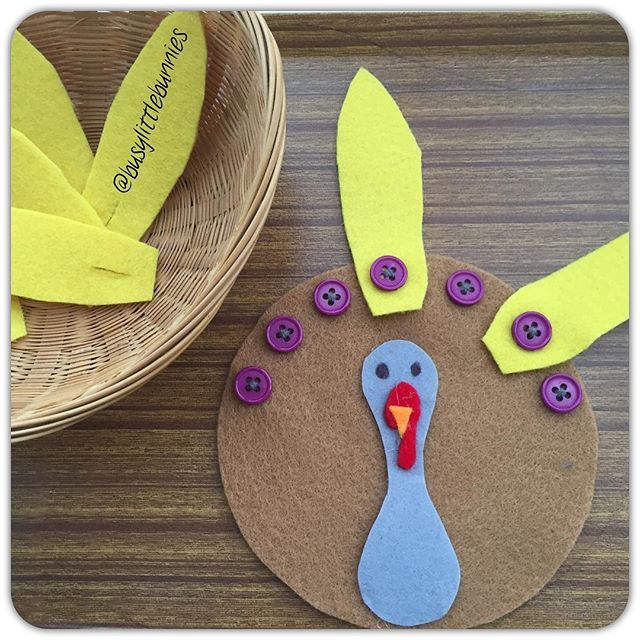 How clever! This felt and button turkey provides practice with buttoning! Love it!