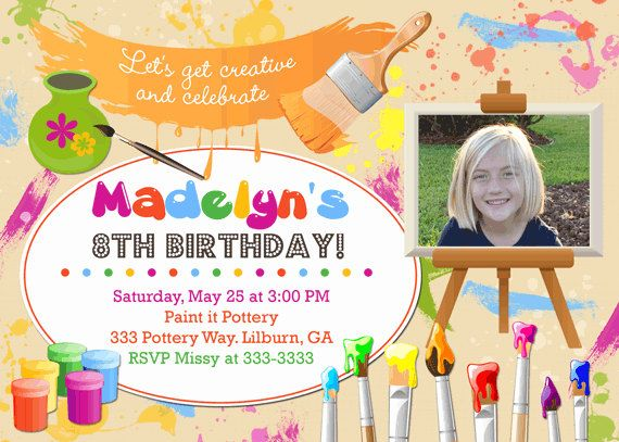 16 best kids birthday party invitations images on pinterest art party invitation art birthday invite chalkboard painting birthday invitation pottery painting party photo invitation diy or printed filmwisefo