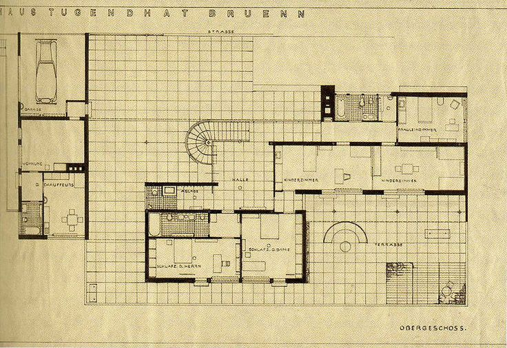Plans of Architecture (Mies Van der Rohe, Haus Tugendhat, 1928-1930,...)
