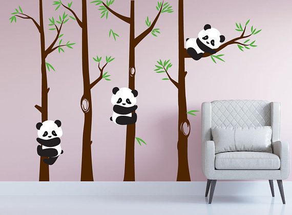 Nursery Panda Bear Bamboo Tree Wall Nursery Decal Art Forest Kids