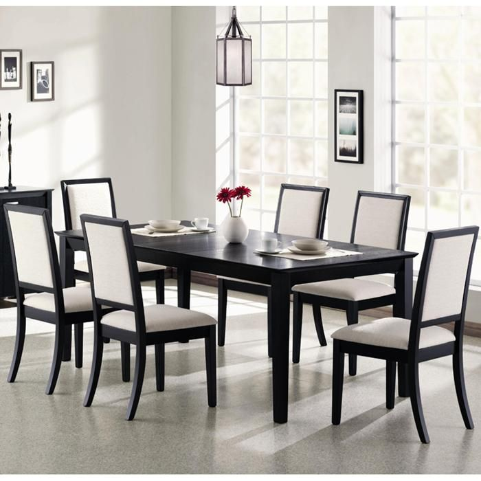 Coaster Lexton Rectangular Dining Table With 18 Inch Leaf In Black
