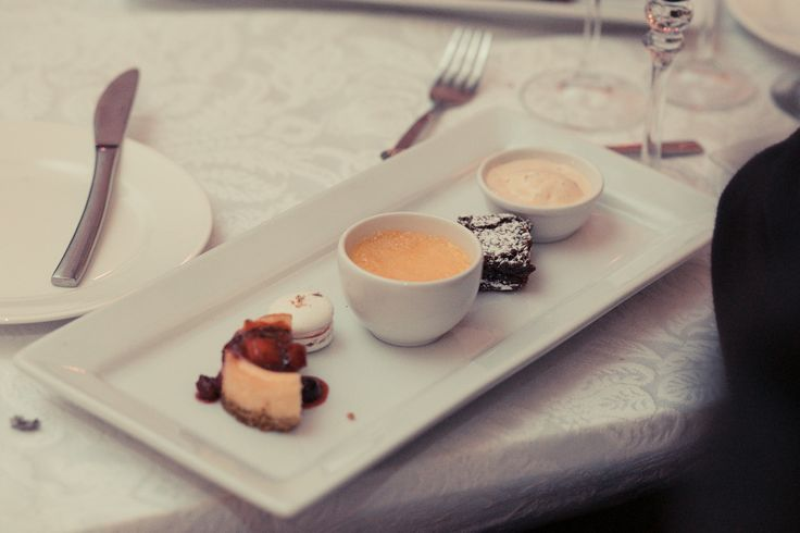 a Plate of sensations. Individual cheesecake, creme bruleé, chocolate brownie and vanilla ice-cream. Omnomnom!