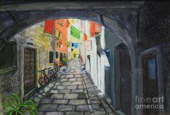Raija Merila Painting - Street View 2 From Pula by Raija Merila