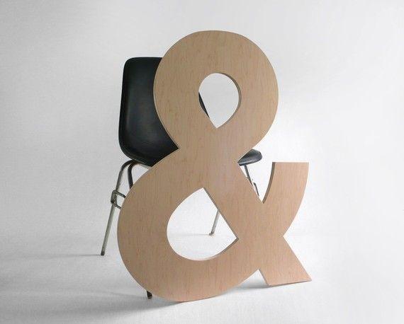 Large wooden ampersand 125 for Ampersand decoration etsy