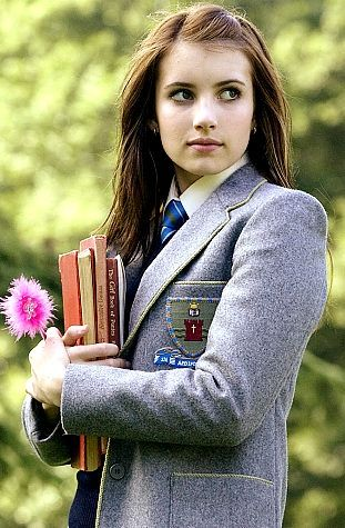 This picture shows Emma Roberts, but look how for also for females school uniforms can give you soo much class.