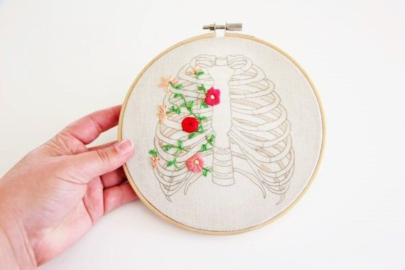 Floral Rib Cage Hand Embroidery Wall Hanging, Hoop Art, needlework, Anatomy Art…