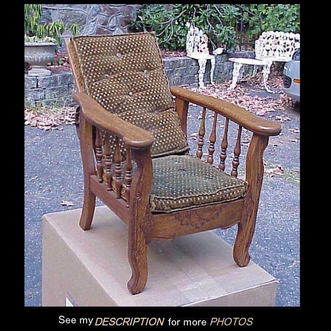 Antique Victorian Oak Child's Morris Reclining Chair Original Cushions
