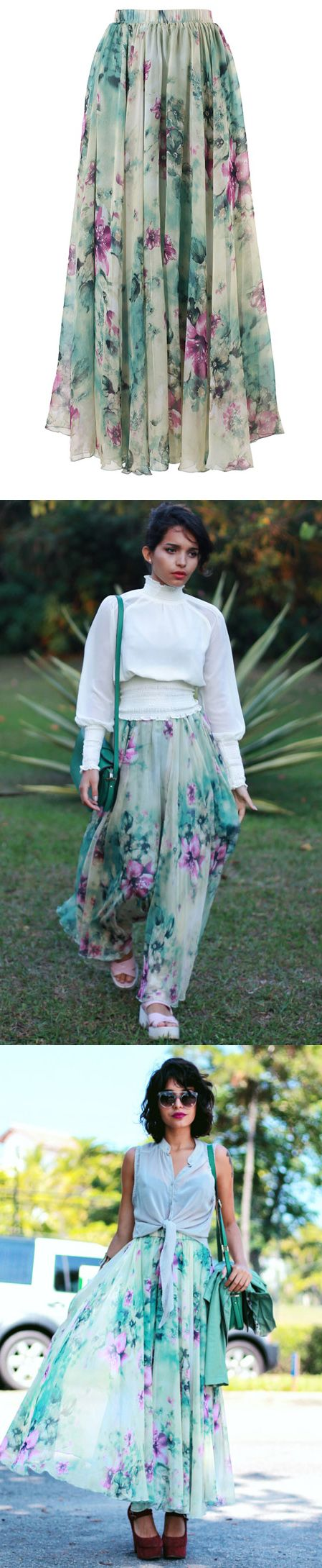 This maxi skirt has been crafted from silky fabric, featuring retro floral print through the whole skirt. Whether you're attending a party or strutting into your best friend's wedding, this fit-and-flare, floral maxi skirt helps set the stage for a memorable occasion! @alanaruas