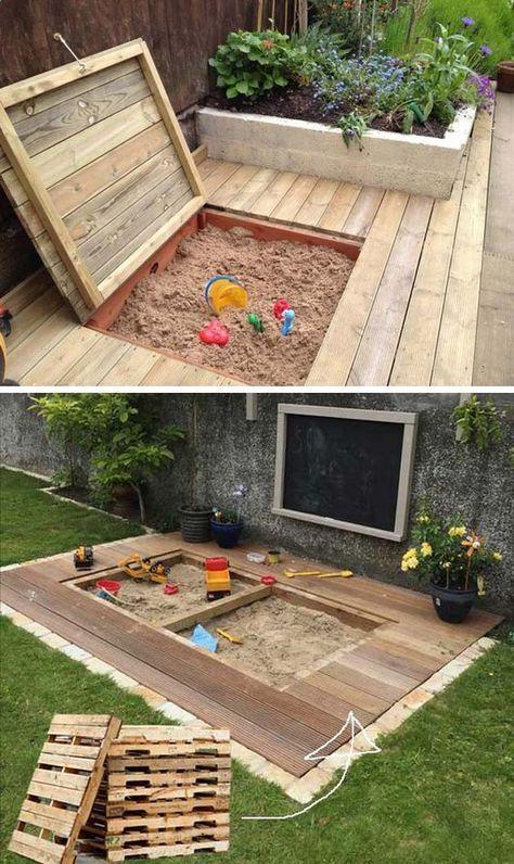 Kinderspielplatz im Freien – Recyclingpaletten – Sandkasten / Kletterturm / Mudkitchen