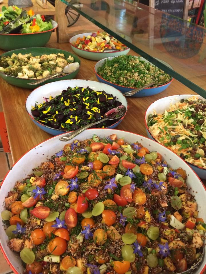The Organic Farm Shop Cafe, Gloucestershire. A colourful selection of healthy homemade organic salads http://www.organicholidays.co.uk/at/2102.htm