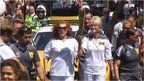 Jennifer Saunders and Joanna Lumley carry Olympic flame.