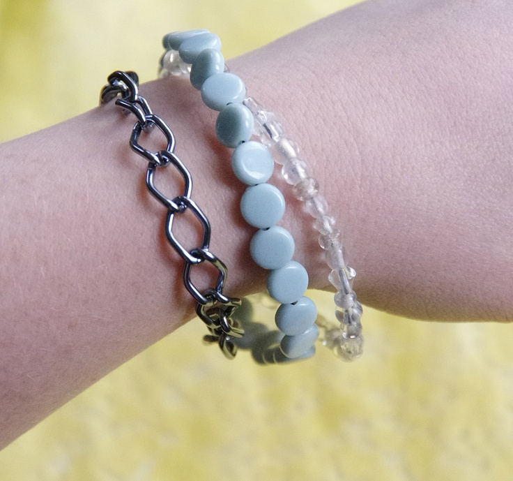 OOAK Baby Blue Chain  Bracelet: Baby Blue Bead, Translucent Bead and Chain Bracelet. $19.95, via Etsy.