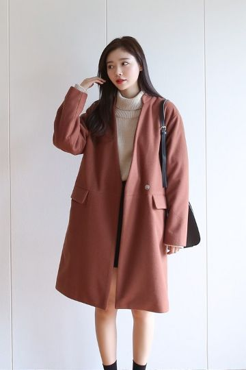 No Collar Snap Button Wool Coat | Korean Fashion