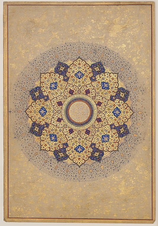 """Rosette Bearing the Names and Titles of Shah Jahan"", Folio from the Shah Jahan Album  Object Name: Album leaf Reign: Shah Jahan (1628–58) Date: recto: ca. 1645; verso: ca. 1630–40 Geography: India Medium: Ink, opaque watercolor, and gold on paper Dimensions: H: 15 3/16 in. (38.6 cm) W: 10 7/16 in. (26.5 cm)  @metmuseum"