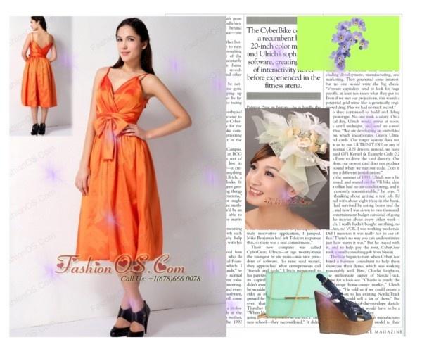 """Customize Orange A-line Spaghetti Straps Bow Bridesmaid Dress Tea-length Taffeta"" by forthebridesmaidandmother ❤ liked on Polyvore"