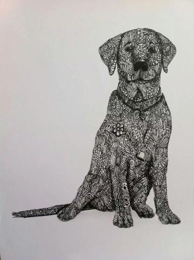 Dog Zentangle | Dog coloring page, Zentangle animals, Dog art