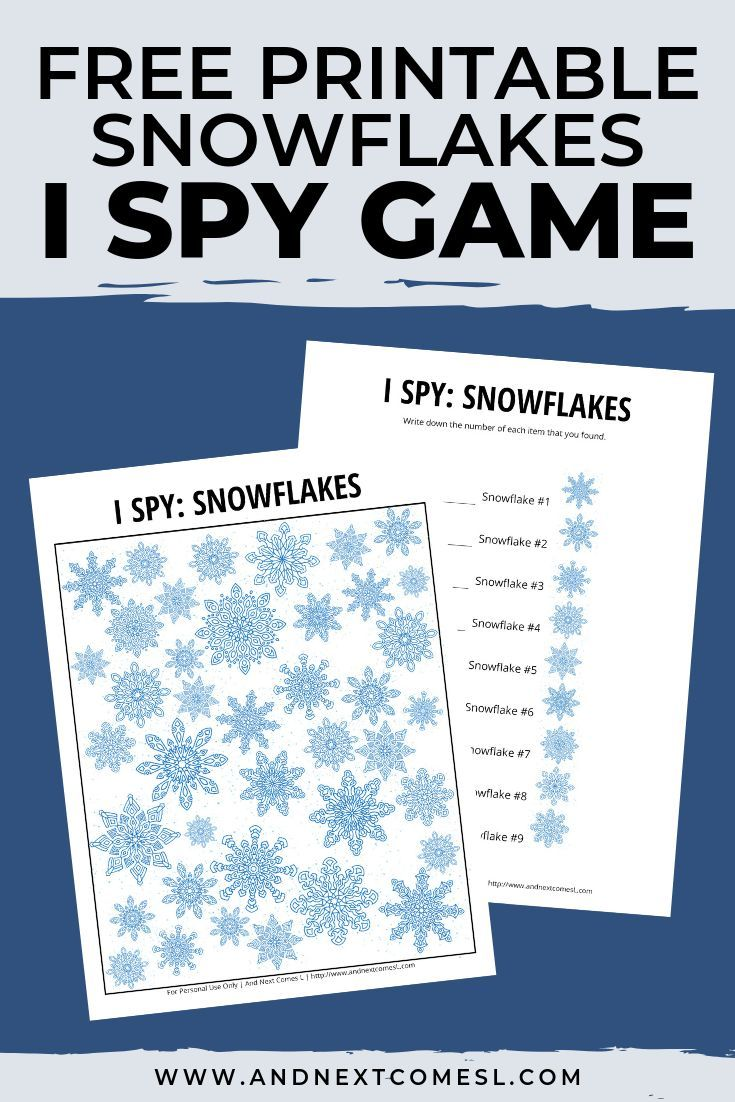 Snowflake Themed I Spy Game {Free Printable for Kids} | I ...