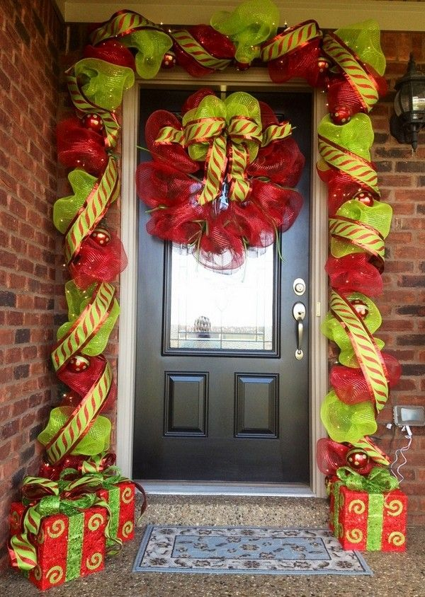 2013 Newest Christmas Deco Mesh Wreath, Cute Bow Mesh Wreath For Christmas, Christmas Deco Wreath Ideas