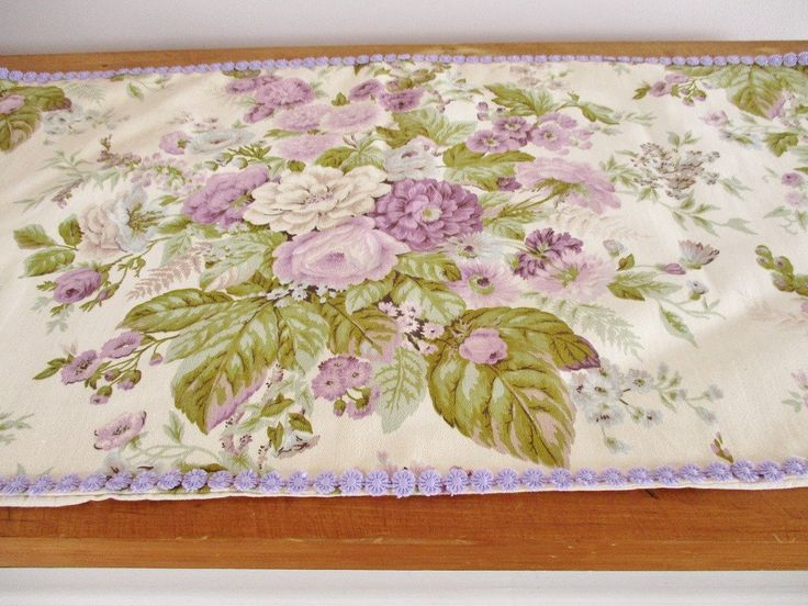 "VINTAGE FLORAL RUNNER, mauve/purple and greens on ivory cotton, purple ribbon edging, 17 x 36"", dresser scarf, table linen, clean condition"
