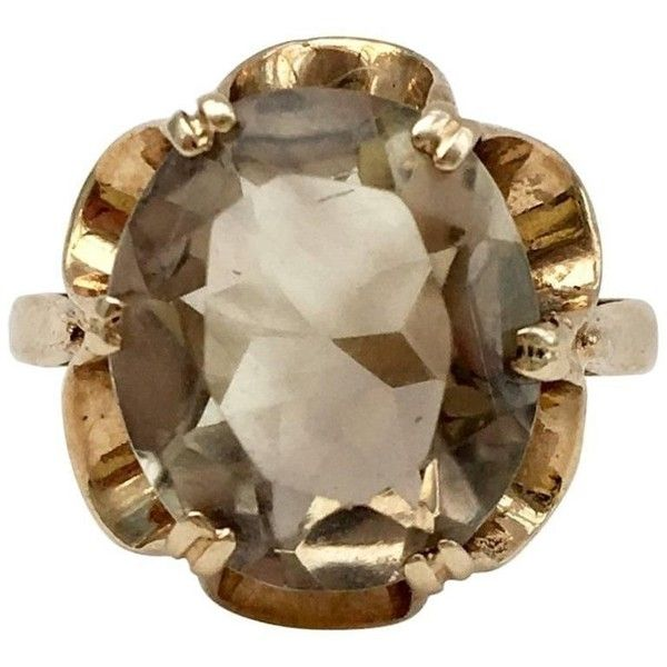 Preowned 1970s Modernist Smoky Quartz Gold Scalloped Flower Setting... ($468) ❤ liked on Polyvore featuring jewelry, rings, cocktail rings, multiple, gold ring, smokey quartz ring, gold cocktail rings and smoky quartz rings