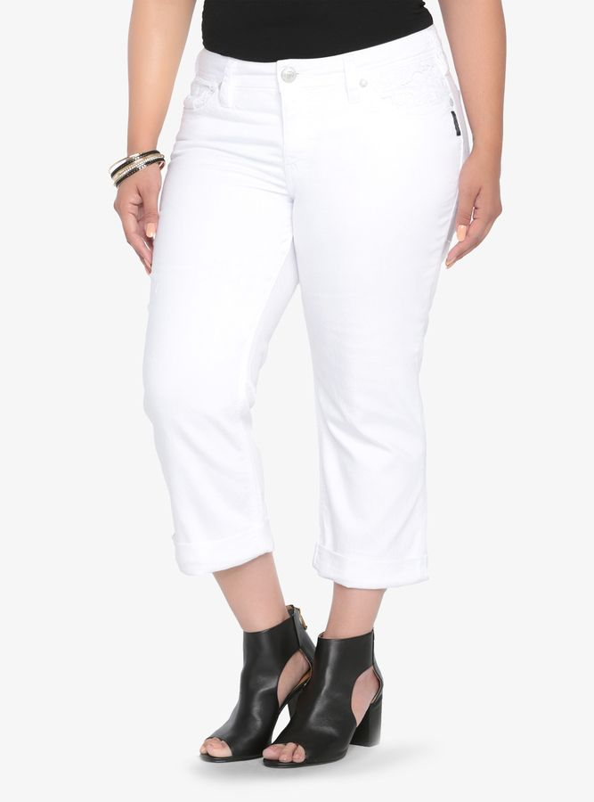 Silver Jeans Suki Mid Capri Jean - White with Lace | All About