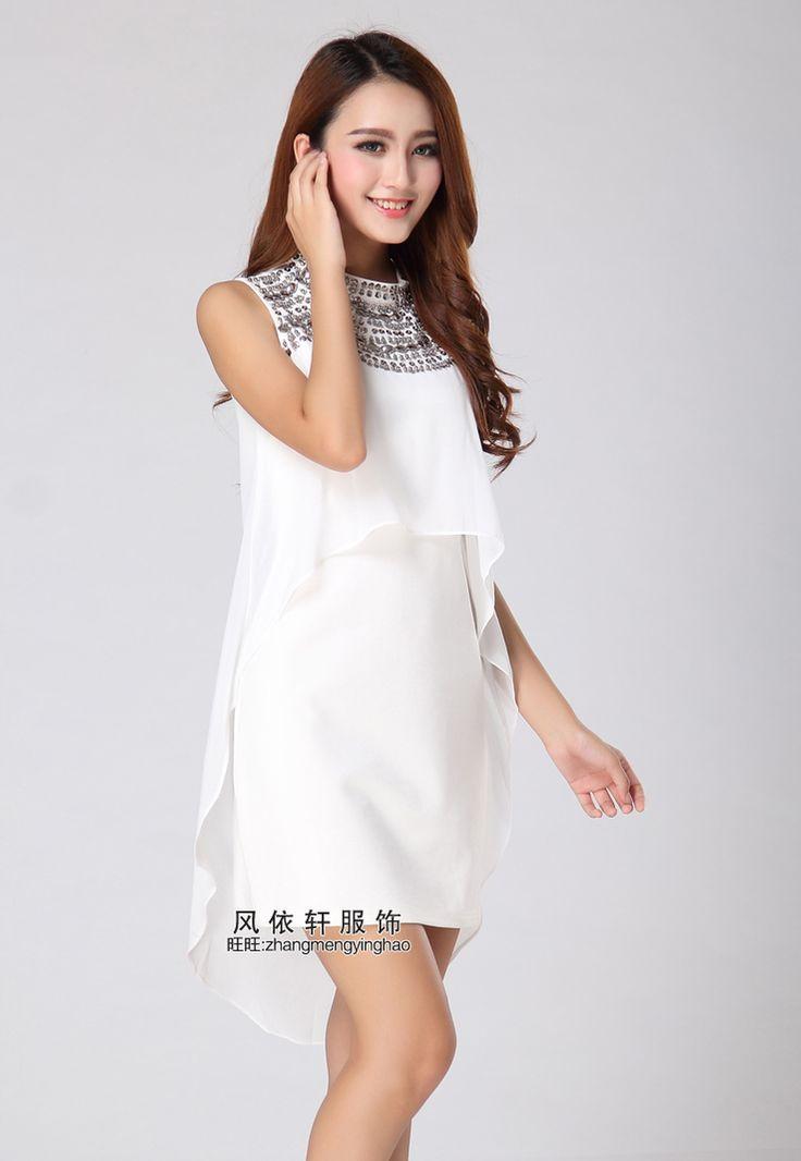 2014 yazında yeni Slim kadın Huang Lingling HUANGLINGLING boncuklu şifon elbise ve uzun bölümler 9847- Taobao