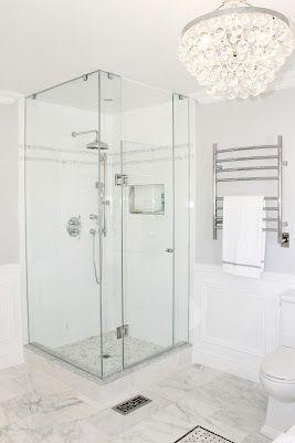 Master Bathroom, Shower Glass, Robert Abbey Bling Chandelier, Towel Warmer, Rain Shower