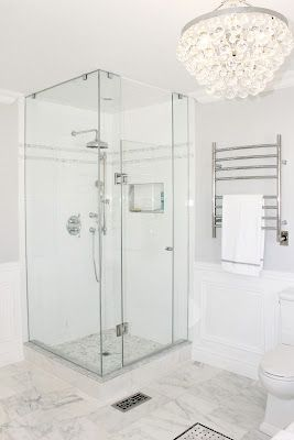 Master Bathroom, Shower Glass, Robert Abbey Bling Chandelier, Towel Warmer, Rain Shower