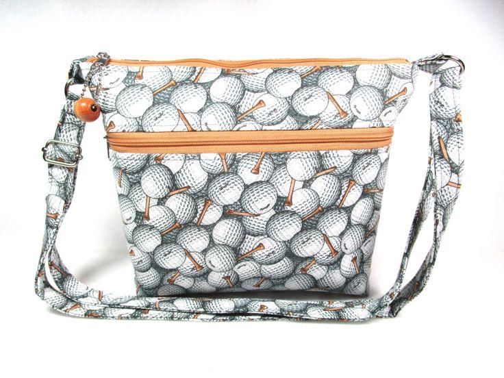 Golf Balls and Tees Handmade Fabric Purse / Cross Body Handbag / Zippered Cell Phone Pocket by DarlingsDesigns on Etsy https://www.etsy.com/listing/488739714/golf-balls-and-tees-handmade-fabric