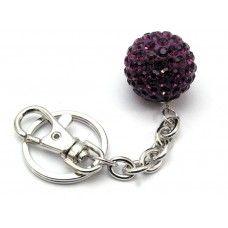 Sparkly purple crystal bag charm/keyring