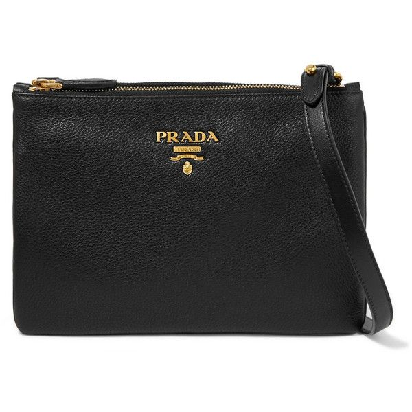 Prada Textured-leather shoulder bag (1 650 AUD) ❤ liked on Polyvore featuring bags, handbags, shoulder bags, black, crossbody purse, over the shoulder handbags, prada handbags, prada purses and crossbody handbag
