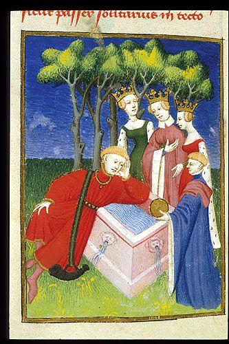 Harley 4431 fol 125v detail (Judgement of Paris). Paris, France 1410-1414.
