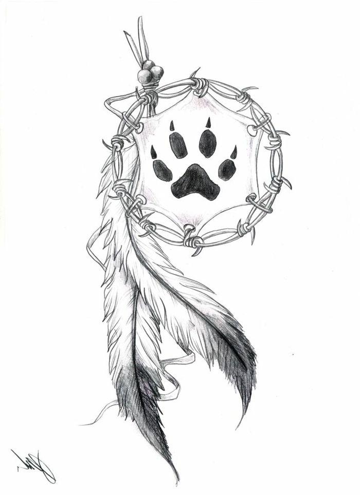 Idée dessin tribal noir blanc dessin tribal noir et blanc simple attrape rêve patte ourse