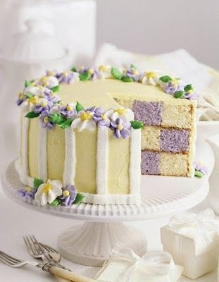 An absolutely gorgeous yellow and purple springtime or Easter checkerboard cake. #food #cakes #spring #dessert