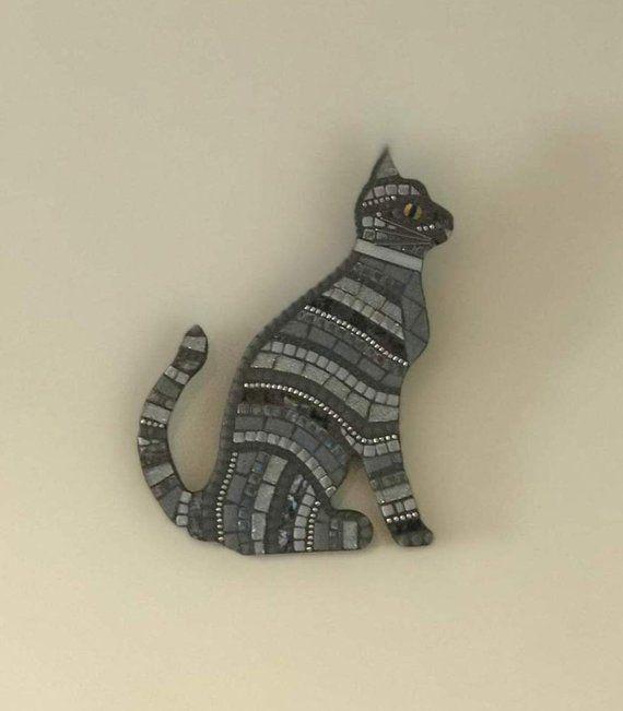 Handmade Mosaic Wall Art Silver Tabby Cat Silver Tabby Cat Mosaic Wall Art Handmade Mosaic