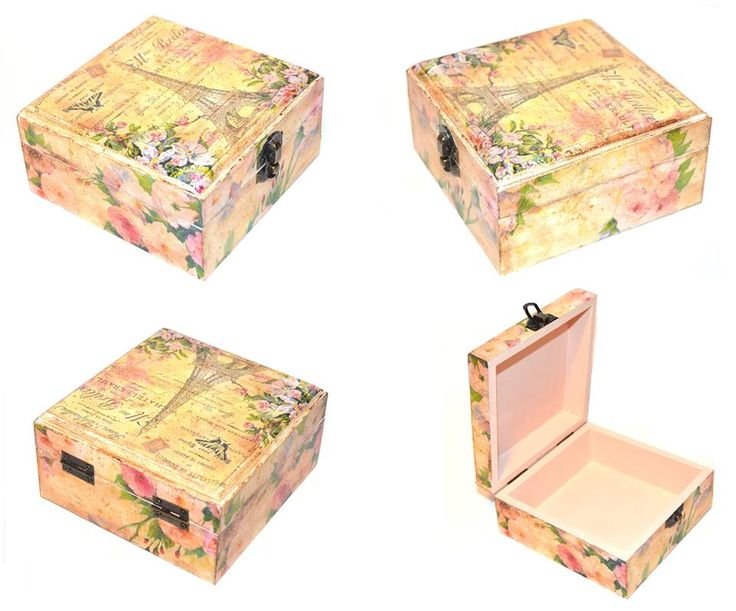 Decoupaged box, aged with patina on the edges