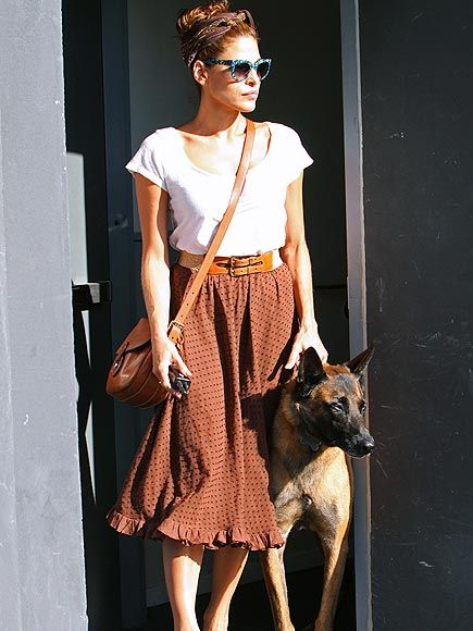 Eva Mendes // I adore it all - the skirt, the head scarf, the belt, the sunglasses, the purse, the dog!