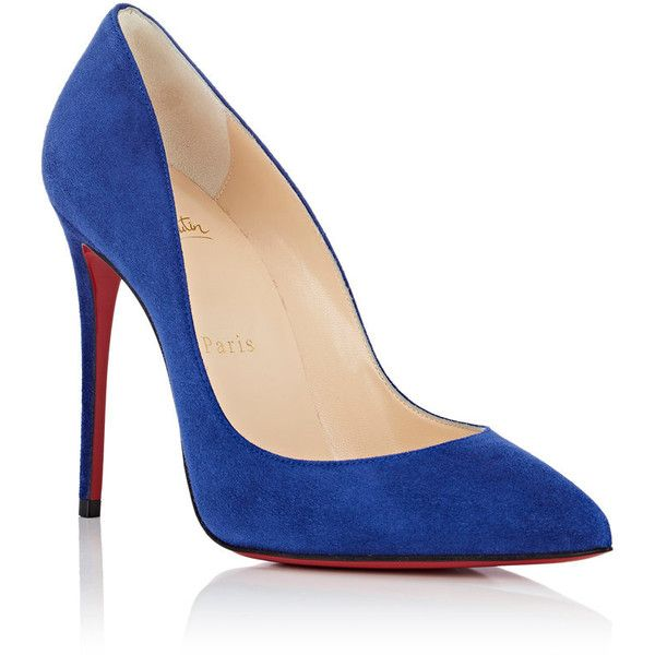 Christian Louboutin Women's Pigalle Follies Suede Pumps ($675) ❤ liked on Polyvore featuring shoes, pumps, blue suede pumps, slip on shoes, blue high heel shoes, high heeled footwear and red sole pumps