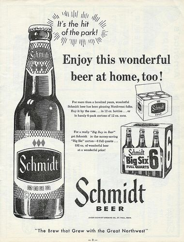 """Vintage Beer Advertising: Schmidt Beer Ad, """"The Brew That Grew with the Great Northwest"""", Jacob Schmidt Brewing Co., St. Paul, Minn., From the 1957 St. Paul Saints Baseball Official Scorebook."""