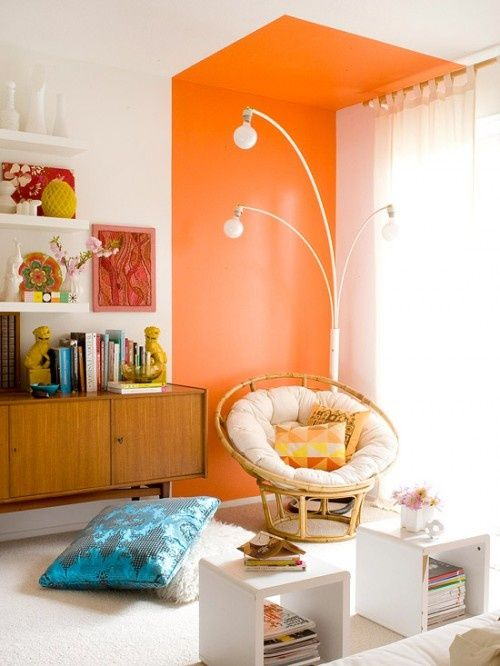Contemporary home interior with a 70's vibe. #sideboard #orange