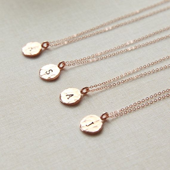 Violet - Dainty Rose Gold Initial Disc - Personalized Rose Gold Necklace - Hammered Rose Gold Pendant - Bridesmaids Gifts