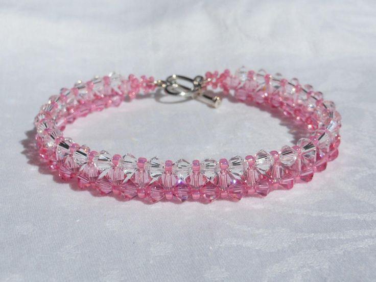 Pink Tone Swarovski Crystal Bracelet, Woven Bracelet, Weaving Bracelet,Crystal Bracelet,Blue Bracelet,Rose Bracelet. by akcrystalbead on Etsy