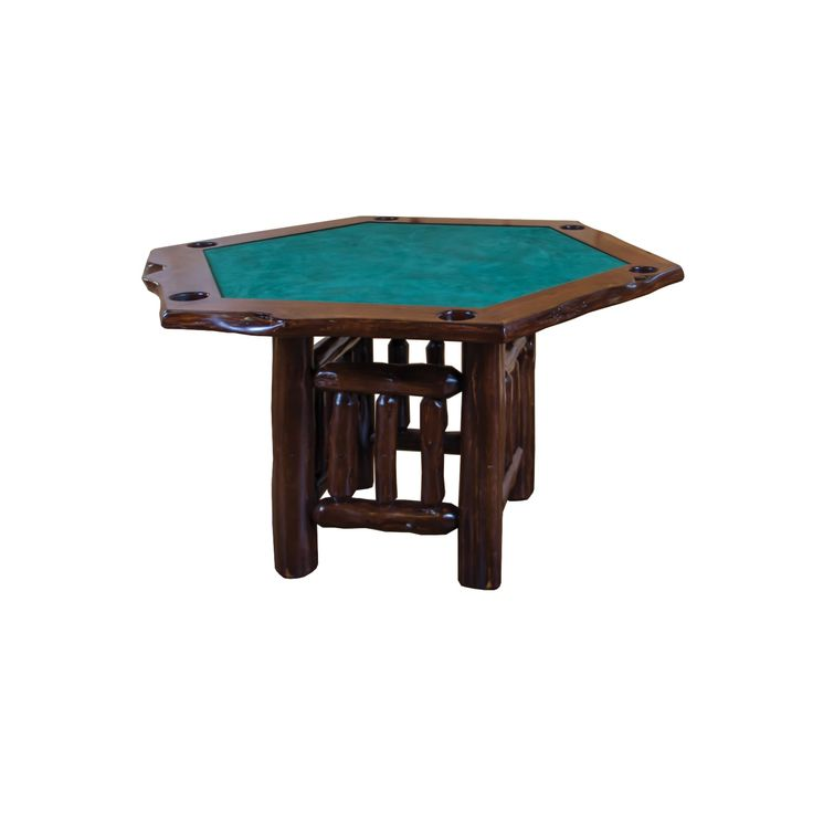 Live Edge Rustic Red Hexagon Game Table - Amish Made USA
