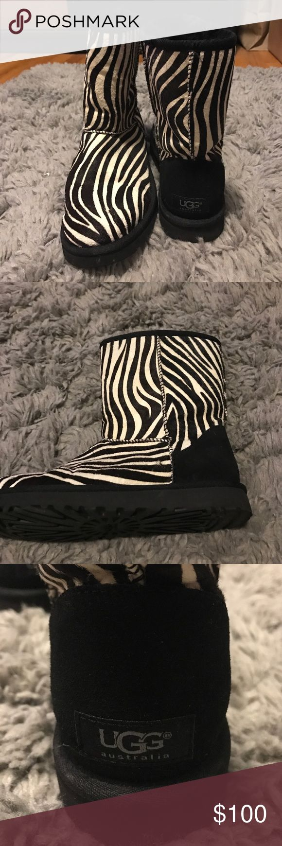 UGG zebra boots Super stylish zebra real UGG boots, worn once, great condition! UGG Shoes Ankle Boots & Booties