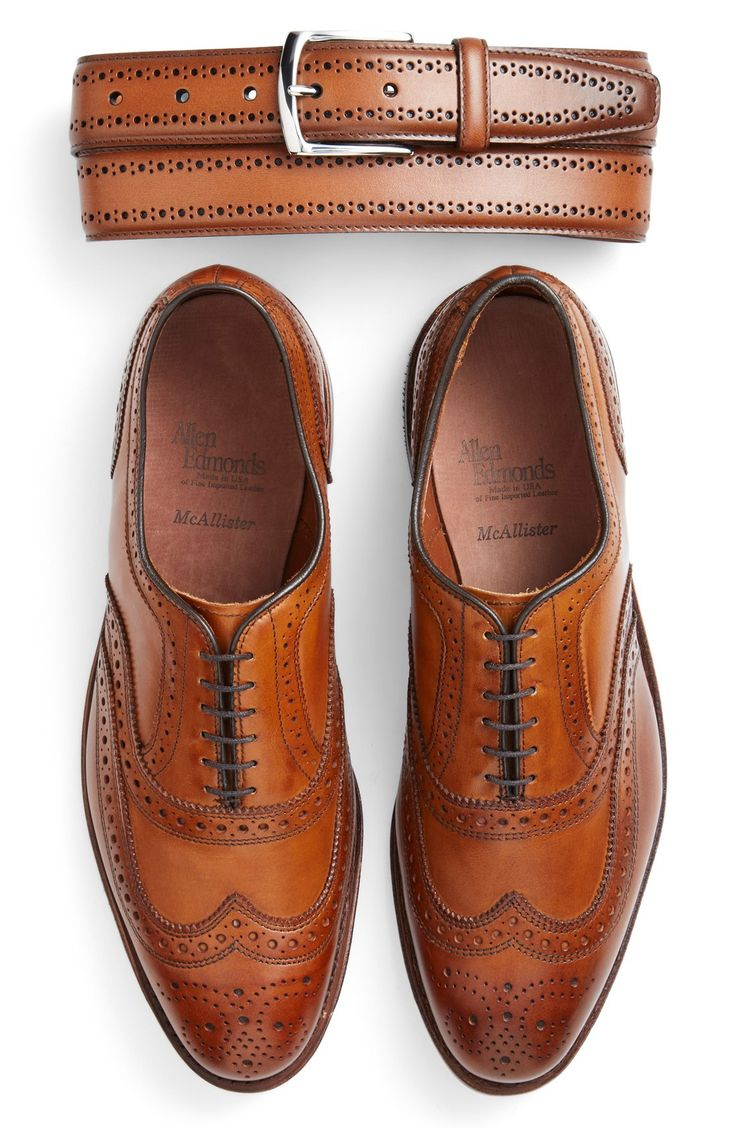 Allen Edmonds 'Manistee' Brogue Leather Belt | Nordstrom