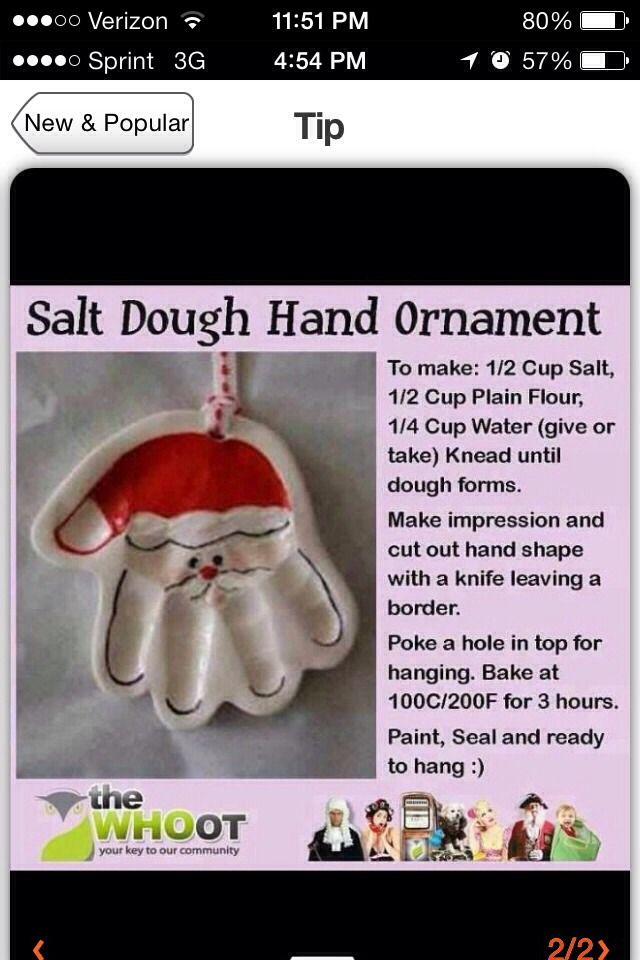 Salt Dough Hand Ornament
