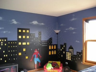 superhero cityscape @Michelle Bannie For Amelia:0) I think she needs this right away! I've been meaning to ask if she has super hero bedding? I was thinking of her birthday. Love you! - visit to grab an unforgettable cool 3D Super Hero T-Shirt!